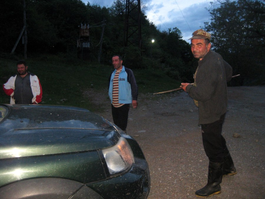 Finally, as we tried to get back in Scott's car and drive back to Oni, we were confronted and mock-attacked with a spear!