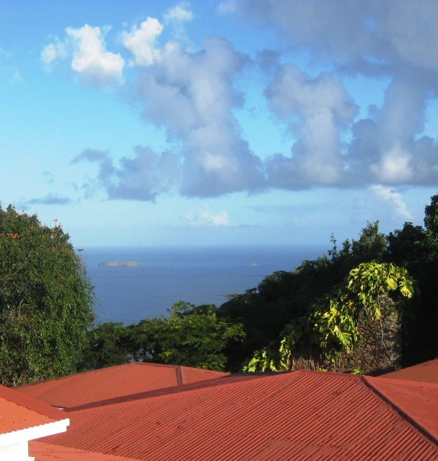 Here's the north view out over the Atlantic with my apartment roof and the old Greathouse wall more or less centered.