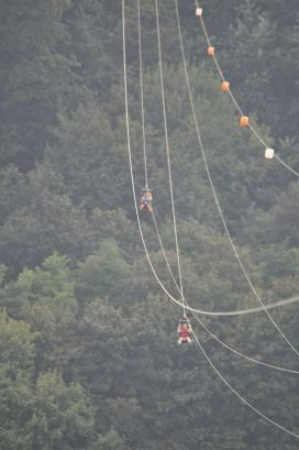 We went ziplining across the Dnieper river and, as predicted, I zipped along much faster than Shorena...